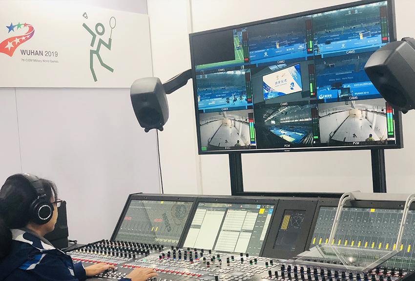 2019年第七届世界军人运动会 主媒体中心,康维讯成功交付7套55英寸全高清广播级监视器